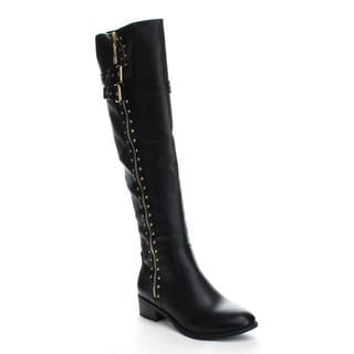 Beston GA54 Women's Knee High Studs Side Zipper Chunky Heel Riding Boots