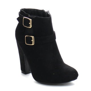 PAZZLE GA47 Women's Stylish Double Ankle Strap Side Zipper Chunky Ankle Booties