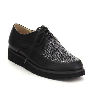 Beston AA60 Women's Lace Up Sweater Flat Heel Lug Sole Oxfords