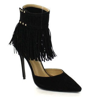 PAZZLE GA53 Women's Chic Ankle Strap with Fringe Pointed Toe Ankle Booties