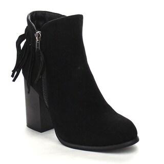 PAZZLE GA55 Women's Chic Chunky Heels Fringe Trim Side Zipper Ankle Booties