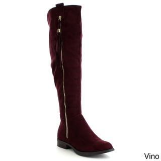 SODA ABELA Women's Decorative Tassel Full Zipper Knee High Riding Boots