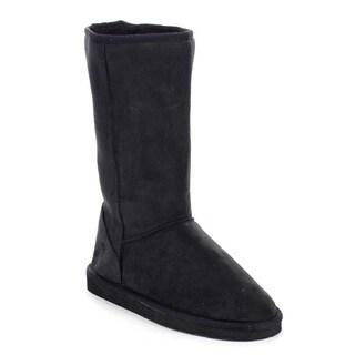 Beston AA53 Women's Faux Fur Winter Warm Pull On Flat Heel Mid Calf Snow Boots