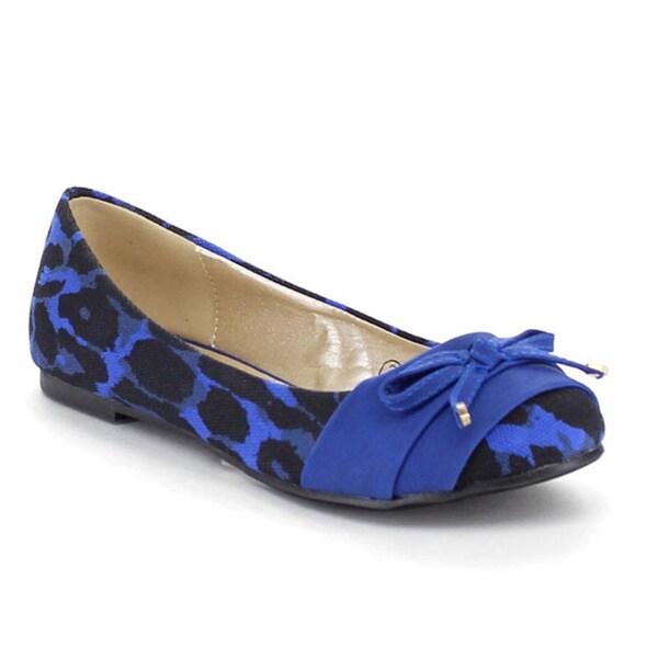 Beston AA62 Women's Leopard Slip On Bow Low Heel Comfort Ballet Flats