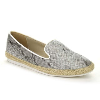 Beston AA66 Women's Snake Pattern Slip On Casual Espadrille Low Heel Flats