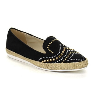 Beston AA67 Women's Studded Slip On Casual Espadrille Low Heel Flats