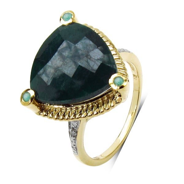 Malaika 14k Yellow Gold over Silver 11 1/5ct Emerald and Diamond Accent Ring