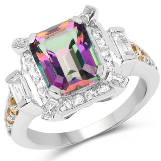Malaika Sterling Silver 5 5/8ct Mystic Topaz Citrine and White Topaz Ring