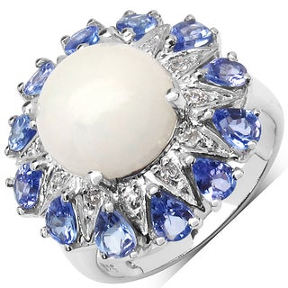 Olivia Leone Sterling Silver 4 1/4ct Ethiopian Opal Tanzanite and White Topaz Ring