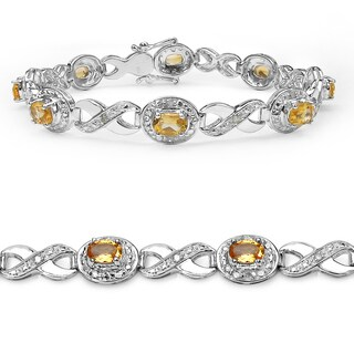 Malaika Sterling Silver 3 5/8ct Citrine and Diamond Bracelet