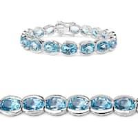Malaika Sterling Silver 47 1/2ct Blue Topaz Bracelet