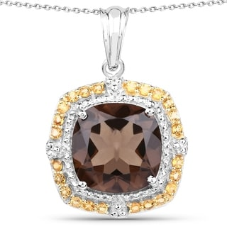 Malaika Sterling Silver 11ct Smoky Quartz and Citrine Pendant