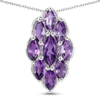 Olivia Leone Sterling Silver 4 1/8ct Amethyst Pendant