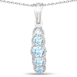 Olivia Leone Sterling Silver 1 1/2ct Blue Topaz Pendant