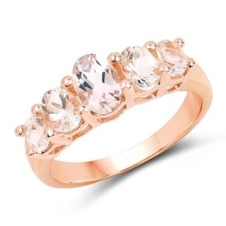 Olivia Leone 14k Rose Goldplated Sterling Silver 1 3/8ct Morganite Ring