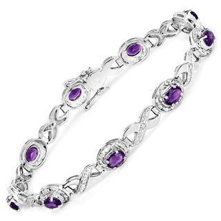 Malaika Sterling Silver 3 5/8ct Amethyst and Diamond Bracelet