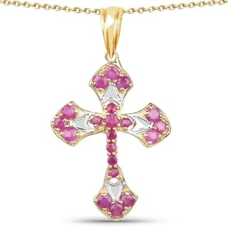 Olivia Leone 14k Yellow Goldplated Sterling Silver 1 3/8ct Ruby Pendant