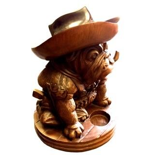 Handmade D-Art Teak and Mahogany Bulldog Cowboy Statue (Indonesia)