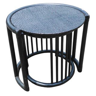 Handmade Set of Two D-Art Rattan Wicker Nesting Tables (Indonesia)