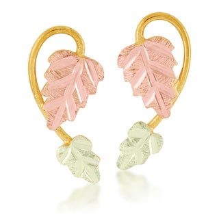 Black Hills 12k Tri-color Gold Earrings
