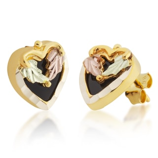Black Hills Tri-color Gold Onyx Heart Earrings