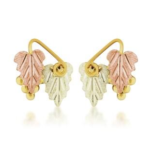 Black Hills Grape and Leaf Gold Earrings