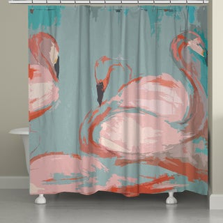 Laural Home Pink Flamingos Shower Curtain (71-inch x 74-inch)