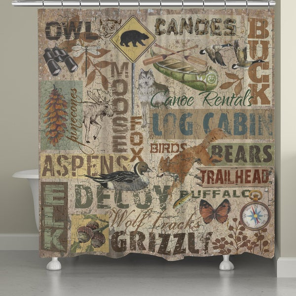 Shop Laural Home Rustic Lodge Words Shower Curtain 71 Inch X 74