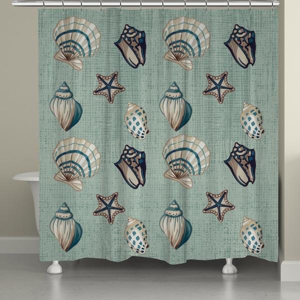 Laural Home Seafoam Shells Shower Curtain 71 Inch X 74