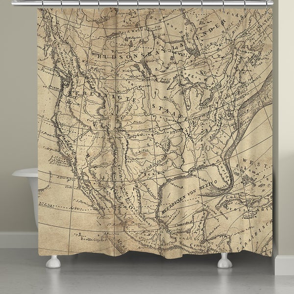 Laural Home US Line Map Shower Curtain 71 Inch X 74 Inch