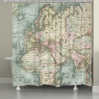 Laural Home Vintage Map Shower Curtain (71-inch x 74-inch)