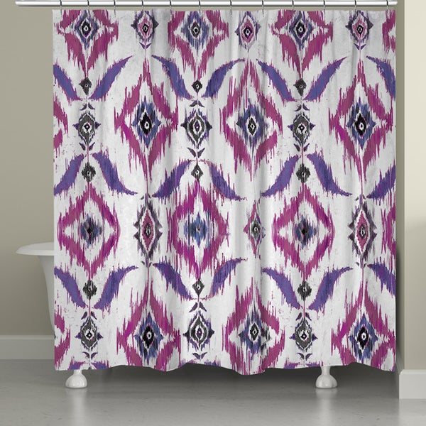 Laural Home Violet Ikat Shower Curtain (71-inch x 74-inch)