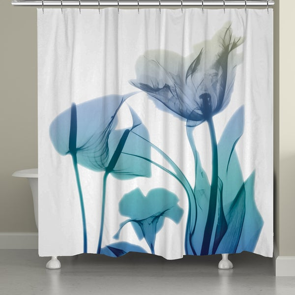 Shop Laural Home X Ray Blue Bloom Shower Curtain 71 Inch 74