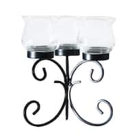 Adeco Cluster Metal Stand with Glass Candle Holder