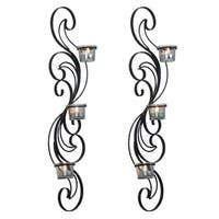 Adeco Set of 2 Metal Wall Sconces with Glass Candle Holder
