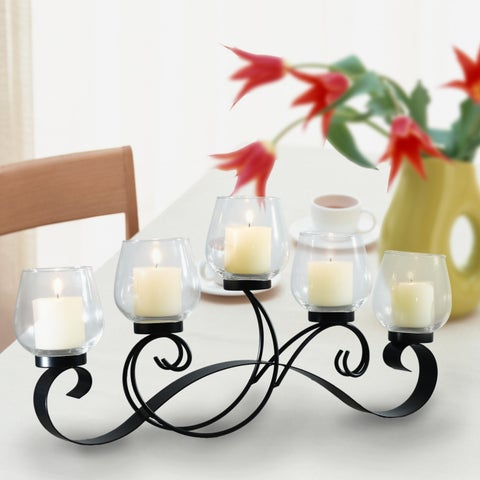 Adeco Decorative Iron Vertical Table Standing Antique Vintage Vine Bubs Style Candle Pillar Holder