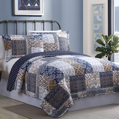 Modern Threads Millau Printed Quilt Cotton Reversible Blanket Set
