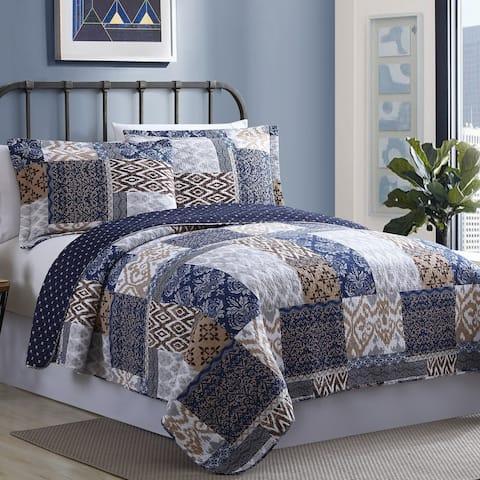 Modern Threads Millau Cotton Printed Reversible 3-piece Quilt Set