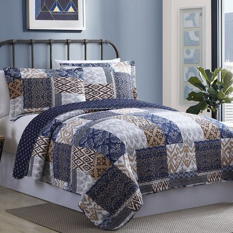 Modern Threads Millau Cotton Printed Reversible 3-piece Quilt Set