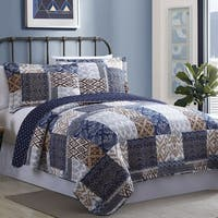 Amraupur Overseas Laura Cotton Printed Reversible 3-piece Quilt Set