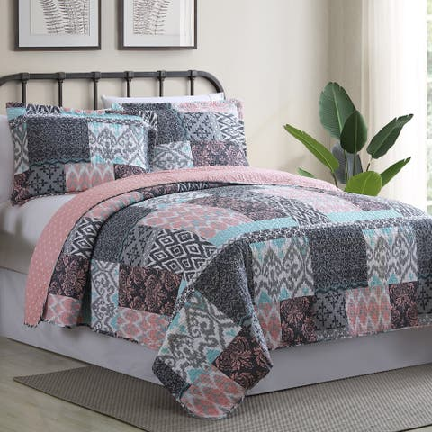 Amraupur Overseas Sylvia Printed Reversible 3-piece Cotton Quilt Set