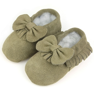Augusta Baby Soft Sole Leather Fringe with Bow Baby Shoes
