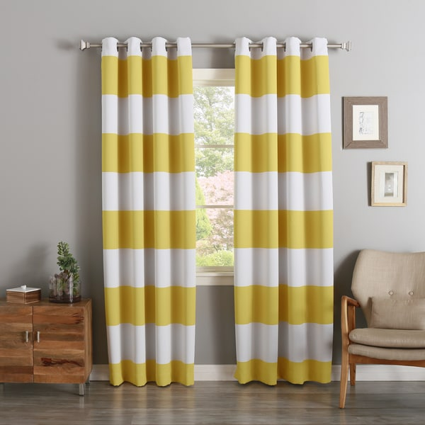 Aurora Home Cabana Stripe Printed Room Darkening Curtain Panel