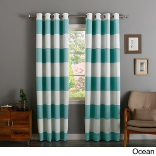 Aurora Home Cabana Stripe-Printed Room Darkening Curtain Panel Pair