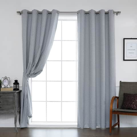 Aurora Home Mini Houndstooth Grommet Top Curtain Pair - 52 x 84