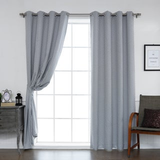 Aurora Home Mini Houndstooth Room-Darkening Grommet Top Curtain Panel Pair