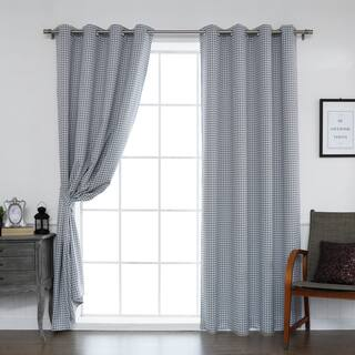Aurora Home Mini Houndstooth Grommet Top Curtain Pair