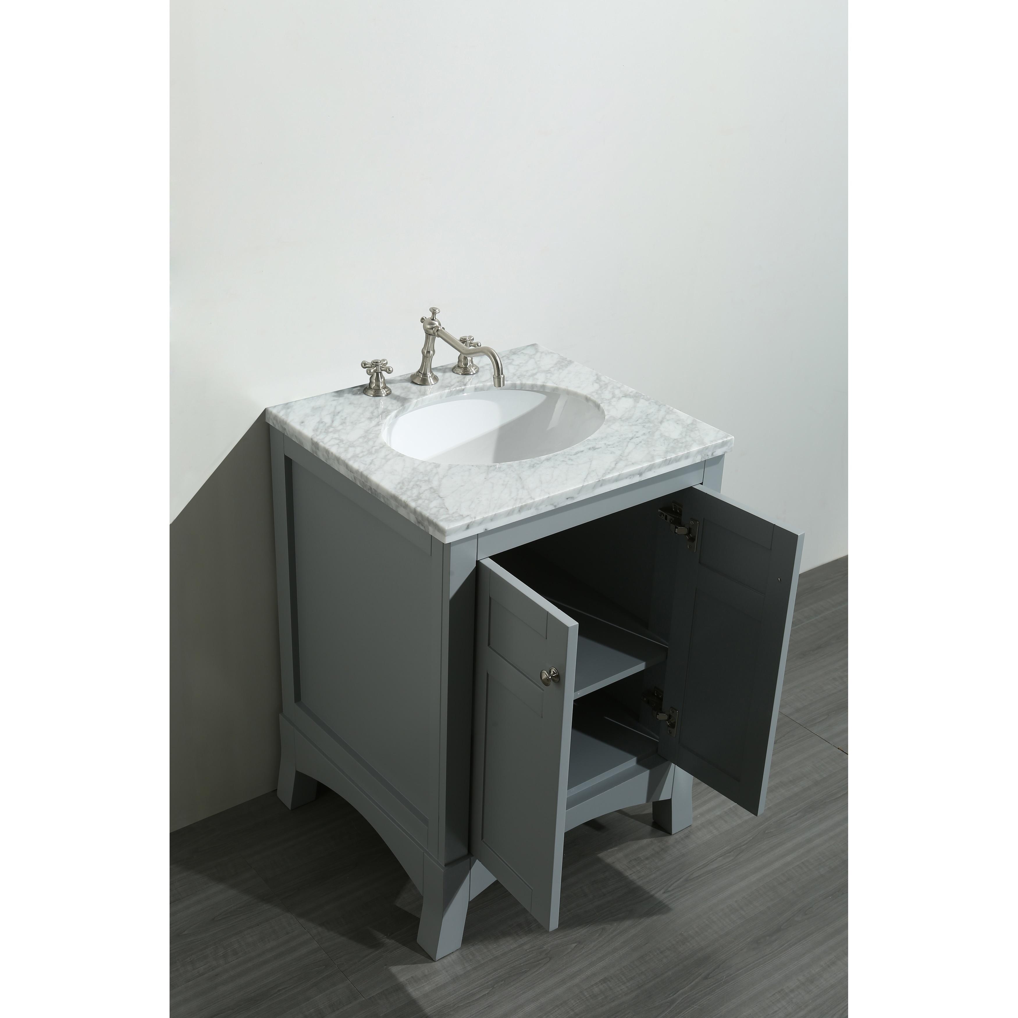 Shop Eviva New York 24 Inch Grey Bathroom Vanity With White Marble