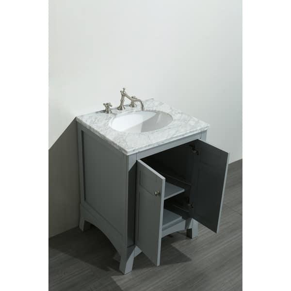 Eviva New York 24 Inch Grey Bathroom Vanity With White