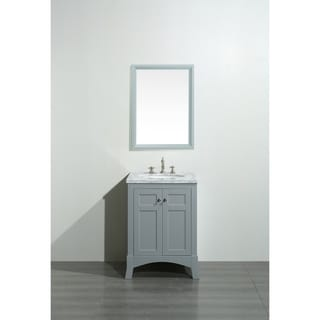 Eviva New York 24 Inch Grey Bathroom Vanity With White Marble Carrera Counter-top and Sink